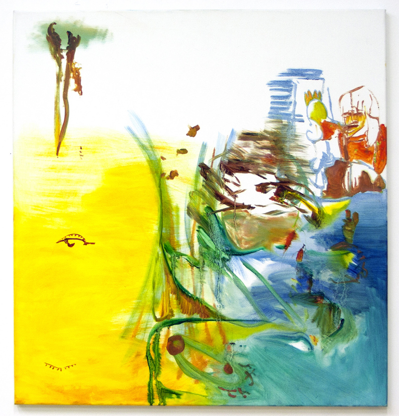 Susan's Noosa 2014, Oil on bleached cotton, 87 x 85 cm